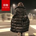 European Film Black Long Down Jacket Female High-end Big Thick Coat's Knee