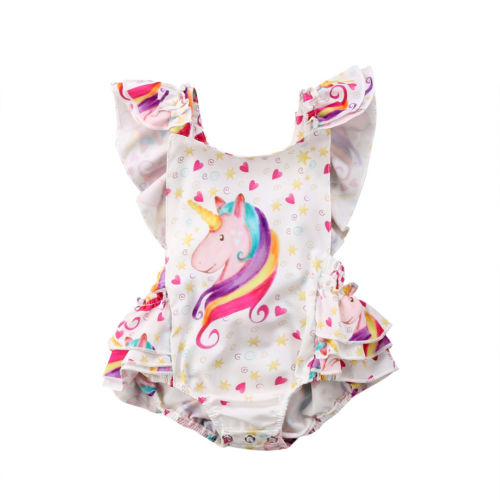 Adorable Newborn font b Baby b font Girls Unicorn Backless Romper Outfits Clothes font b Baby