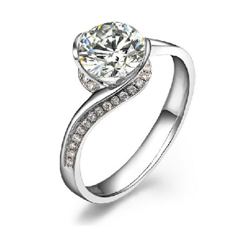 Superb Design Jewelry White Gold Ring Excellent Round 0.8CT SONA ...