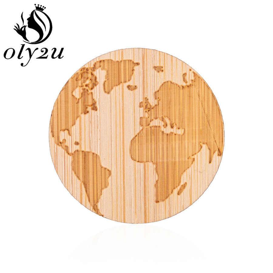 Oly2u Peta Dunia Bros Pin untuk Wanita Kayu Geometris Bros Bulat Kayu Kerah Pin Pakaian Perempuan Perhiasan Dekorasi