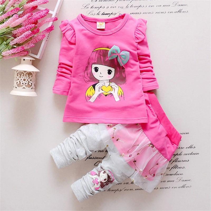 ФОТО 2017 Fashion Spring Autumn Baby Girls Sport Outfits Child Clothing Set Suit Set Children T-shirt +pants Clothes Sets Kids 2 Pcs