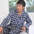 2016 Mens Conjuntos de Pijama Xadrez de Algodão Homens Sleepwear Calças Homem Roupa de Dormir Pijamas Completo Manga Homme Masculino Masculino Roupas XXXL 25