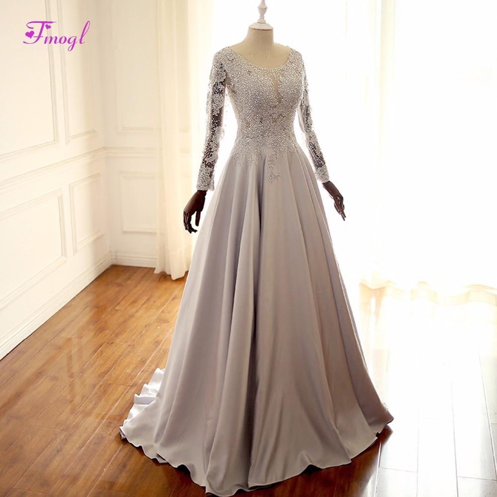 Celebrity Wedding Dresses 2019: Fmogl Scoop Neck Lace Long Sleeve A Line Evening Dresses