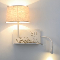 Read the LED lamp bedside lamp simple modern Nordic hotel bedroom shelf wall lamp with switch