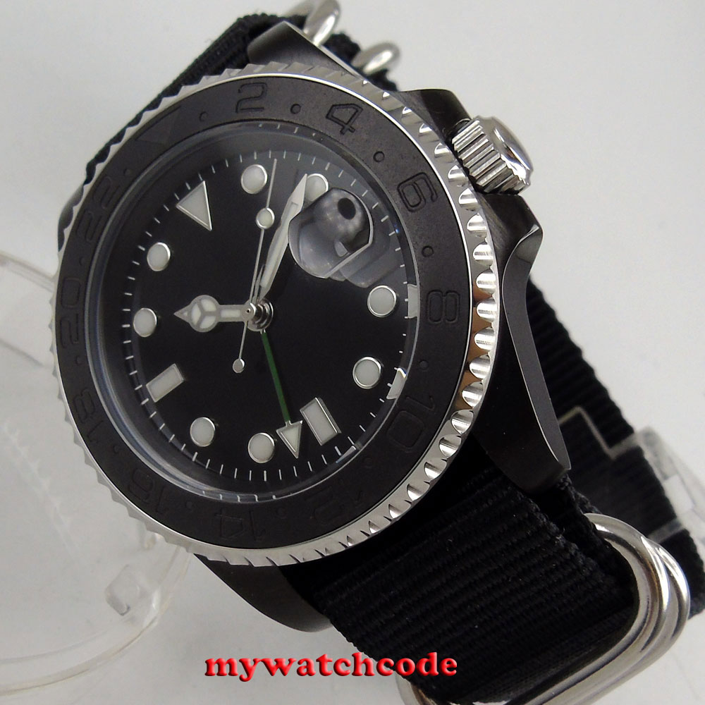 40mm Bliger black GMT PVD case ceramic bezel sapphire crystal automatic mens watch P211 цена 2017