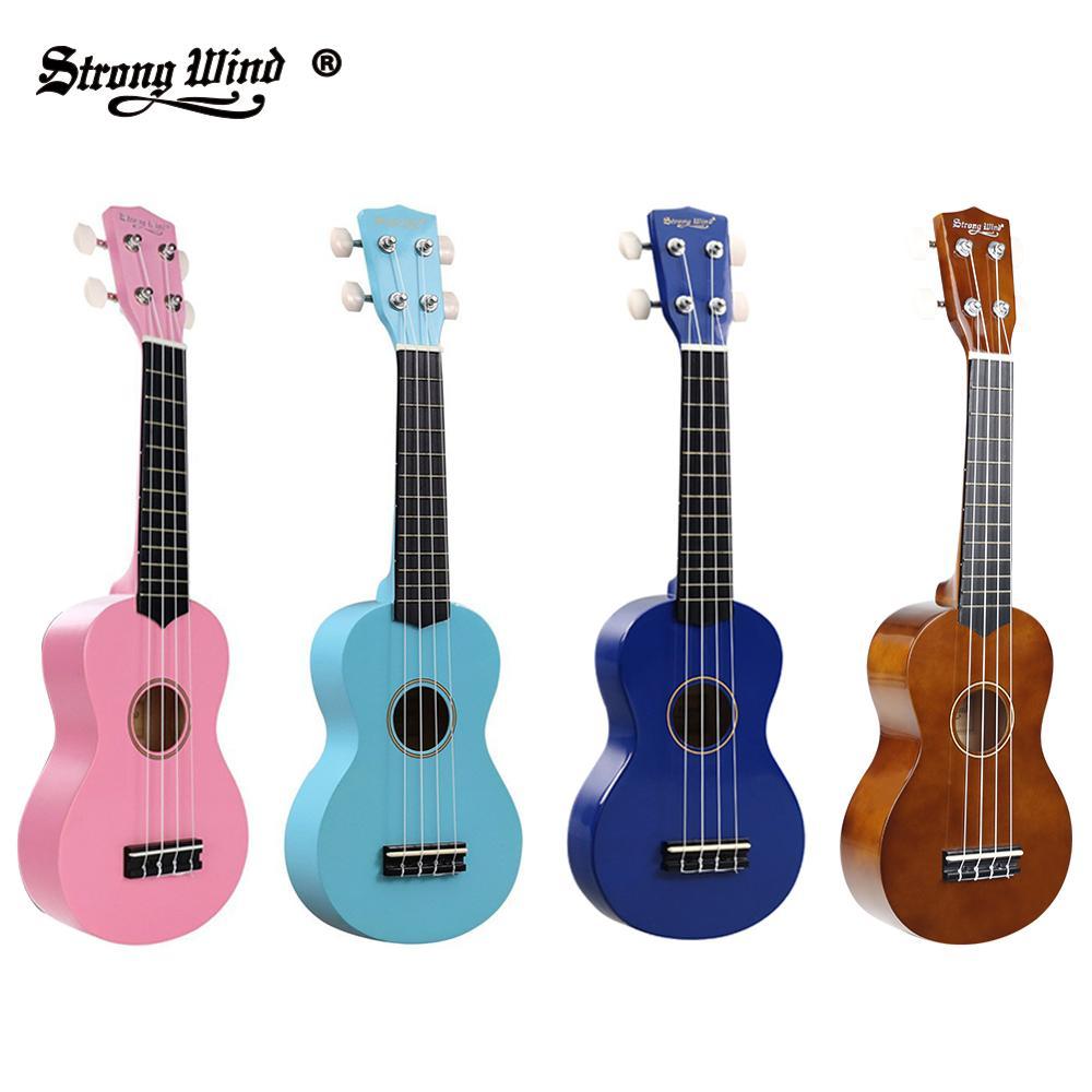 Soprano enfants ukulélé 21 pouces ukulélé Mini acoustique petite guitare hawaïenne solide Ukelele en tilleul pour les enfants débutants avec des Kits complets