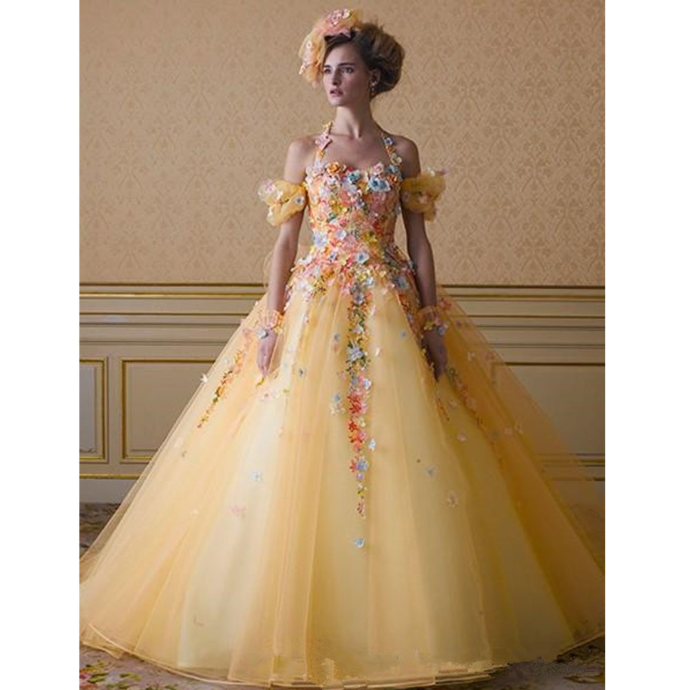 Beaded flower sparkling royal yellow wedding dress 2015 for Wedding dress made of flowers
