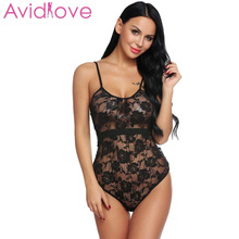 5cd6018a1d Avidlove Women Bodystocking Costumes Lace Sexy Lingerie One Piece Bodysuit  Sheer Women Teddy Romper Overall Nightwear