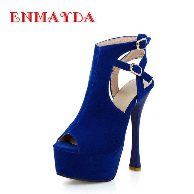 a2d989a8f Slingsbacks ENMAYDA Sexy Peep Toe de Salto Alto Sapatos de Plataforma  Mulher Bombas Stiletto sapatos de