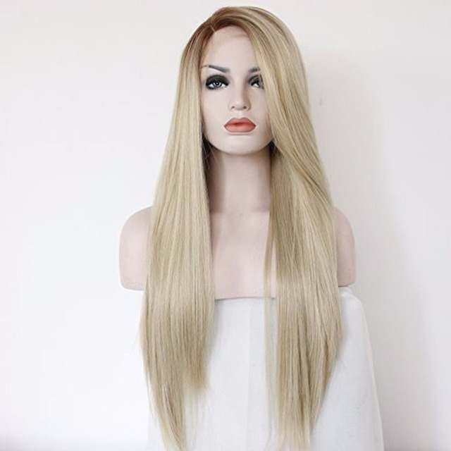 Handmade Straight Ombre Brown Blonde Synthetic Lace Front Wig Heat Resistant Brazilian Hair For White Women Long Natural Wigs