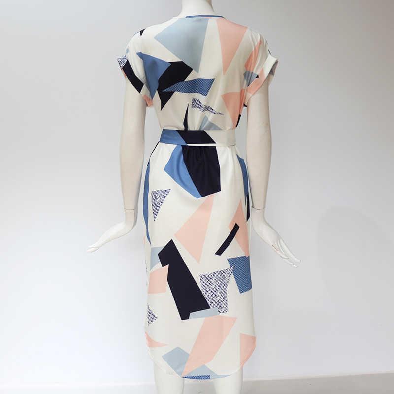 Летнее женское пляжное платье с геометрическим принтом туника с коротким рукавом Бандажное облегающее платье сексуальные миди вечерние платья женские