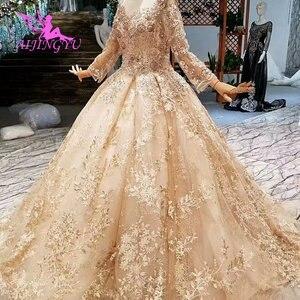Image 2 - AIJINGYU düğün konuk elbiseler müslüman abiye Dubai pelerin uzun kore nişan lüks kristal elbisesi gelinlik