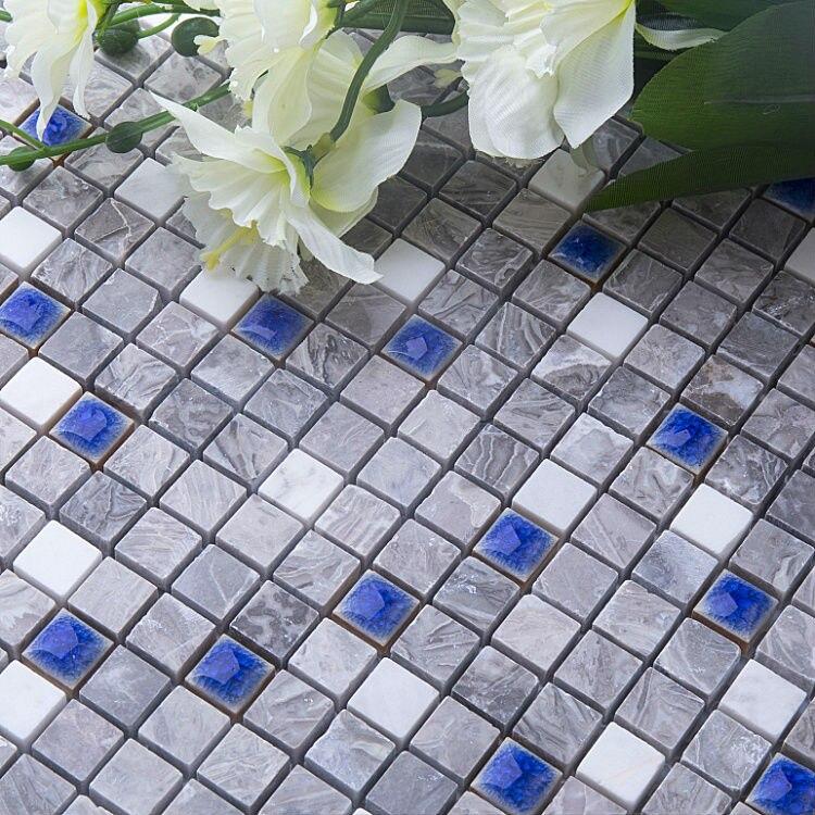 carrelage mural mosaique de marbre en bois 3d bleu mer gris fonce ceramique carrelage de cuisine douche decor de salle de bain