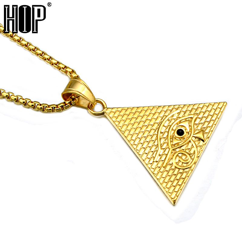 HIP Hop Or Couleur Titane Acier Inoxydable Égyptien Pyramide Illuminati Mauvais Oeil De Horus Pendentifs Colliers pour Hommes Bijoux