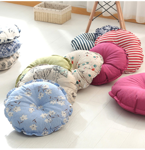 Multicolored Linen Futon Large Floor Cushions Japanese Style Meditation Cushion Home Decor Seat Pad