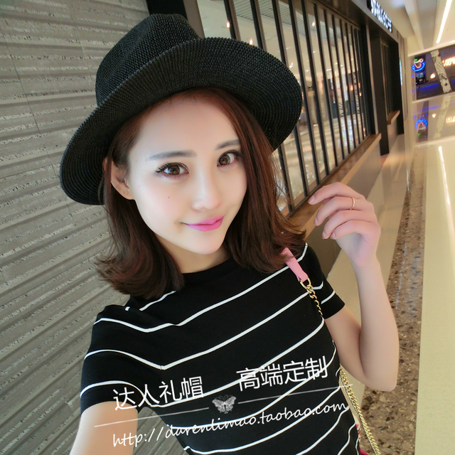 35a1cd29041 Summer 2017 strawhat female beach cap straw braid jazz hat flat brim  sunbonnet genuine leather belt