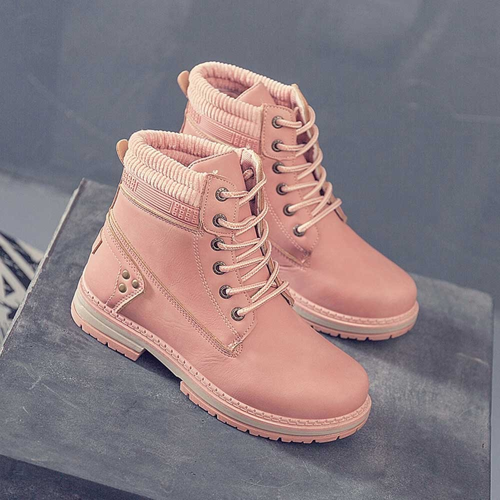 Women Boots Solid Lace Up Casual Ankle Boots Round Toe Shoes Student Snow Boots Classic Winter Warm Ladies Shoes T## 24