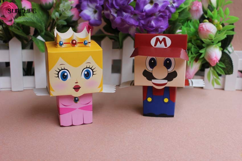 30pcs Cute Cartoon Super Marie Bros Princess Bride And Groom Wedding Favors Mario Candy Box Wedding Gifts