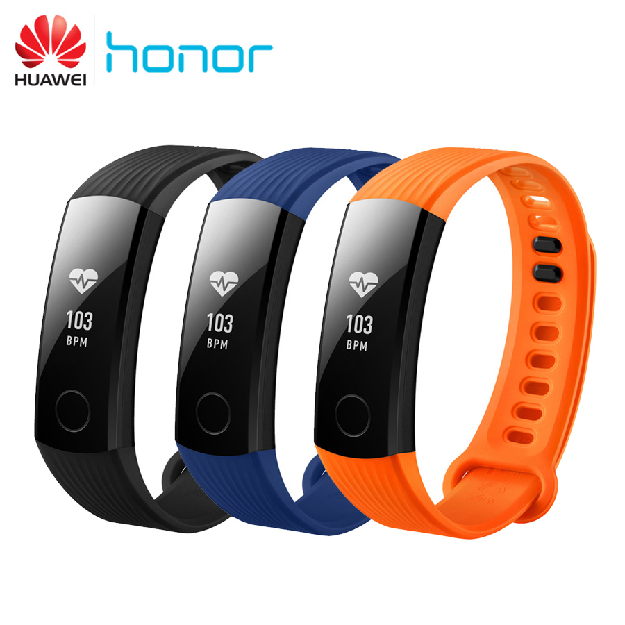 Original Huawei Honor Band 3 Smart Wristband Swimmable 5ATM OLED Touchpad Continual Heart Rate Monitor Push Message Android iOS