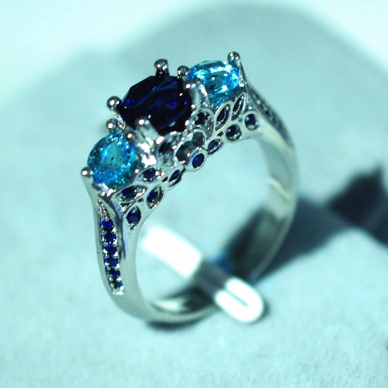Blue Sapphire Anillo De Ring with Diamonds for Women Bizuteria of Bague or Jaune Amethyst Diamante Obsidian Jade Ring 6 7 8 9 10