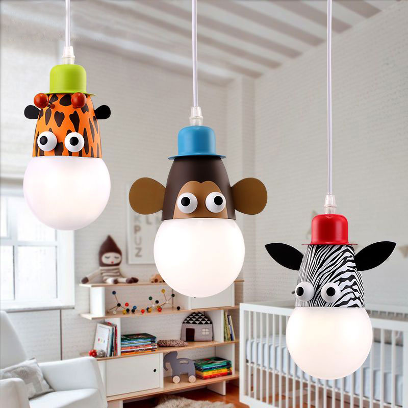 Cartoon pendant light for children room boy or girl simple warm creative cartoon protective eyes lamp Children Kids droplight nordic cartoon pendant droplight simple lamp mokey girraf zebra dimmer remote led night light for kids children bedroom decor