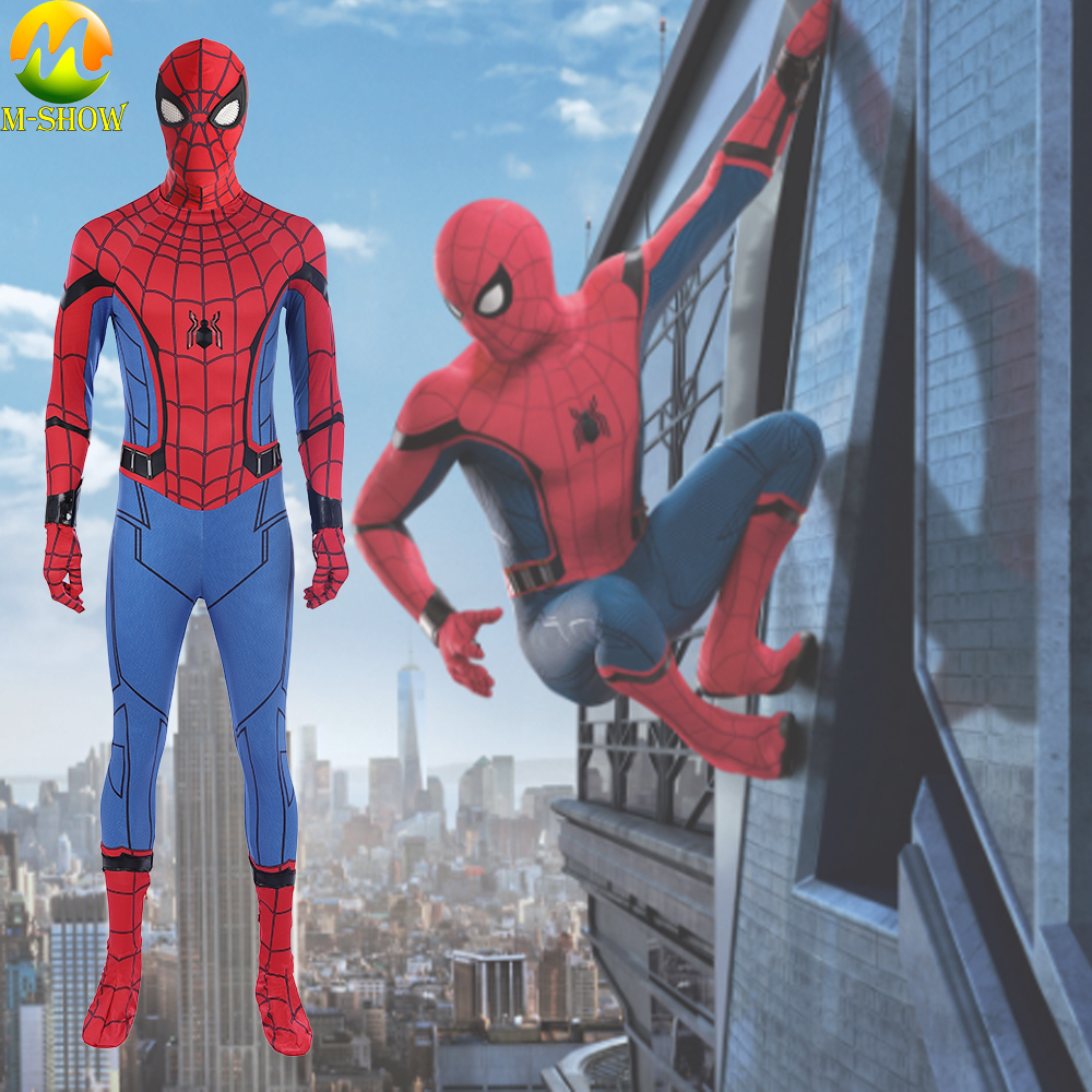 Promotion Superhero Spider-Man Homecoming Cosplay Costume Spider man Full Set Jumpsuits Mask For Halloween Party
