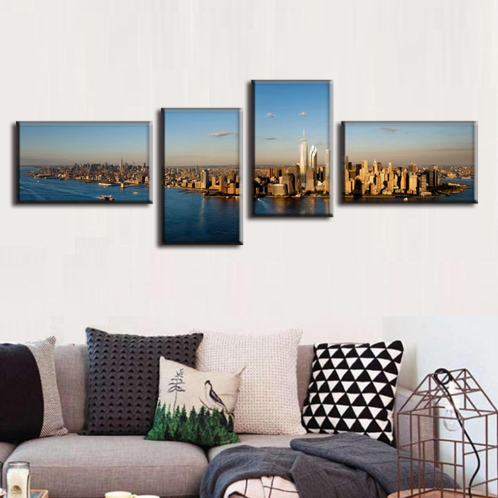 4 Pcs Set Modern Canvas Painting Landscape Prints Panorama Of The New York City Office Wall Pictures In Calligraphy From Home Garden On