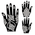 5Pair Left Right Hand Mehndi Henna Tattoo Stencils,Indian Henna Glitter Airbrush Tattoo Large Template Stencil For Body Painting