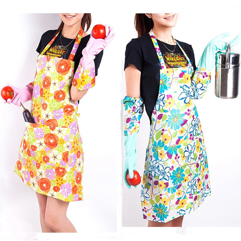 2PCS/Lot Plastic Sleeveless Apron Kitchen Cleaning Tools Waterproof Anti  Oil Printed Flower Kitchen Aprons For Woman Clean Apron