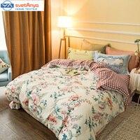 Svetanya fresco floreale fiori modello di biancheria da letto set 800TC levigatura cotone Queen/King Size copripiumino + lamiera piana federe