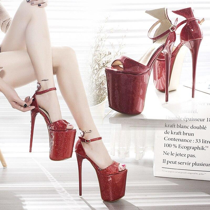 Ultra Tubo Sandalias Negro Tacones Mostrar Mujer Cm 43 Plataforma 4442 Bien Altos De Más Club Tamaño rojo Nocturno Modelo Impermeable Acero Zapatos 19 rwrX1vq