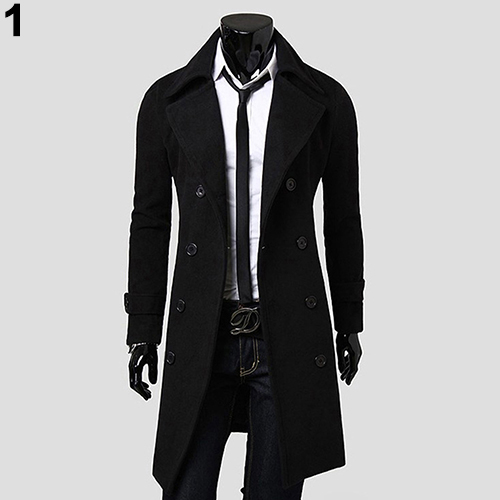 Men Casual Fashion Autumn Winter Warm Double-breasted Slim Long Dust Coat Jacket Material Woolen Polyester Material Woolen  Pol