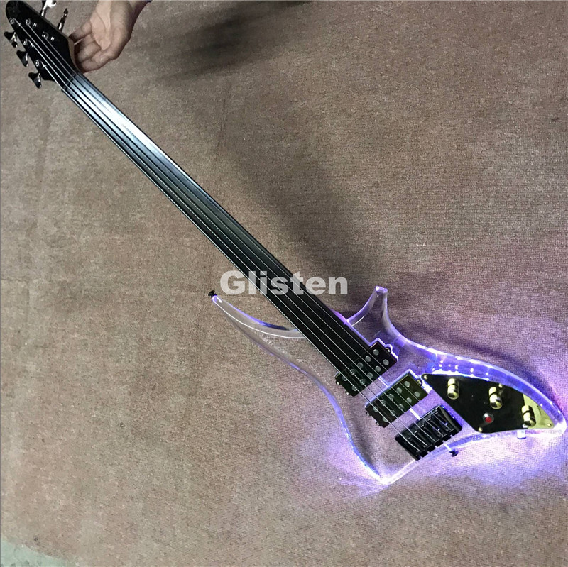 Acrylic electric <font><b>guitar</b></font> bass <font><b>guitar</b></font> with ebony fretboard, fretless <font><b>LED</b></font> light bass <font><b>guitar</b></font>
