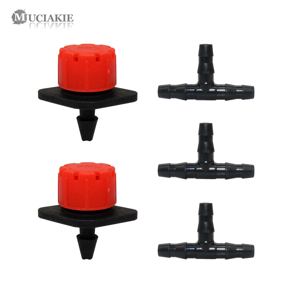 50PCS Adjustable Dripper 50PCS ABS 4/7MM Barb Tee Connectors Micro Drip Irrigation Fitting Emitter Anti-clogging For 1/4'' Hose