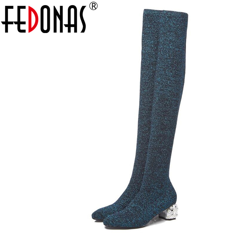 FEDONAS 1New Women Over The Knee Boots Autumn Winter Warm High Heels Shoes Woman Round Toe Party Prom Dancing Bling High Boots fedonas 1new women mid calf boots autumn winter warm high heels shoes woman pointed toe elegant bling party prom dancing pumps