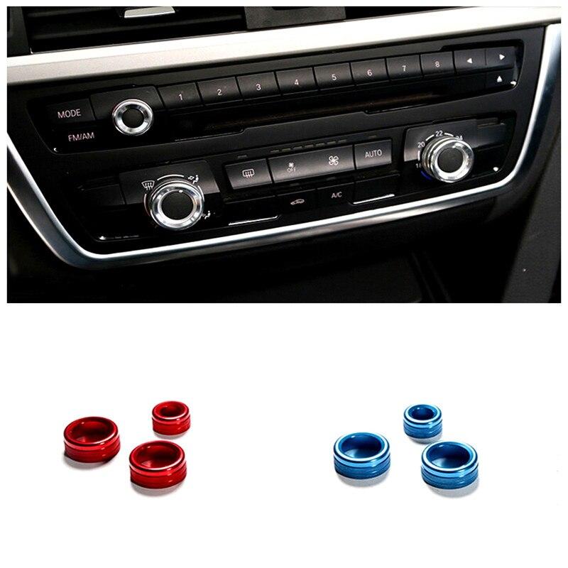 Para BMW X6 E71 2009,2014 Acero Inoxidable Cromo Styling Interior Aire Acondicionado perillas Decorativas Cubiertas 3 unids Rojo.