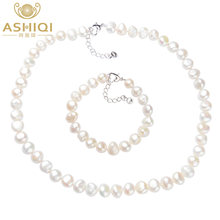 ASHIQI 9-10mm Baroque White Natural pearl Jewelry Sets Real Freshwater pearl Necklace Bracelet for women(China)
