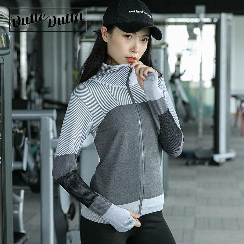Duttedutta Long Sleeve Sweatshirts for Women Yoga Running Zipper Jacket Ladies Gym Fitness Sport Hooded Clothes Tops