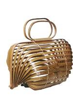 Unique Bamboo Basket Bamboo Bag Hollow Beach Bag Handbag Foldable Bag Rotatable Axis Design A4525
