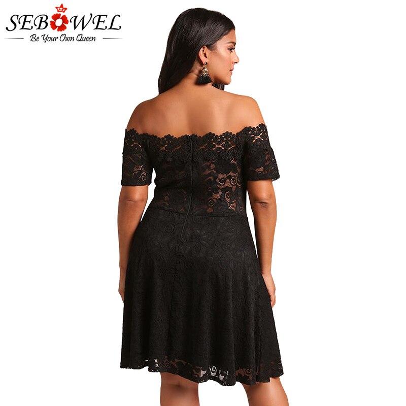 674d3dd4006 SEBOWEL 2018 Plus size Black White Lace Party Dress Women Sexy Off Shoulder  Short Sleeves Mini Dresses Female Vestidos XXL XXXL