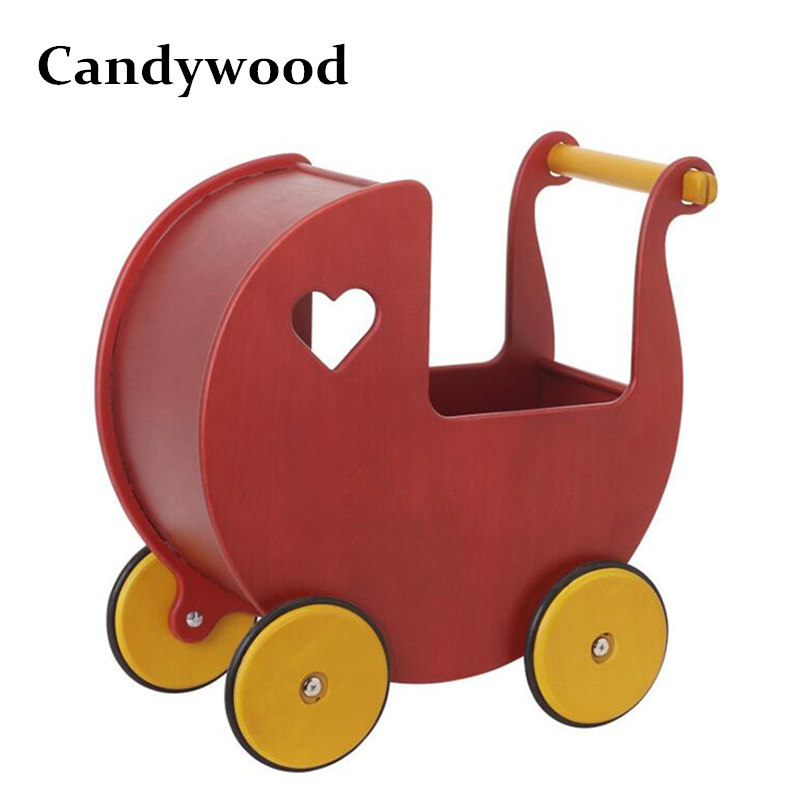 Candywood Moover Baby girl wooden wooden walker trolley baby toy car storage Baby cart shopping cart Safer Wooden Baby carro