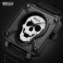Baogela Mens กันน้ำสีดำสีน้ำตาลหนังสายรัดนาฬิกาข้อมือควอตซ์ Luminous Skull BGL1701