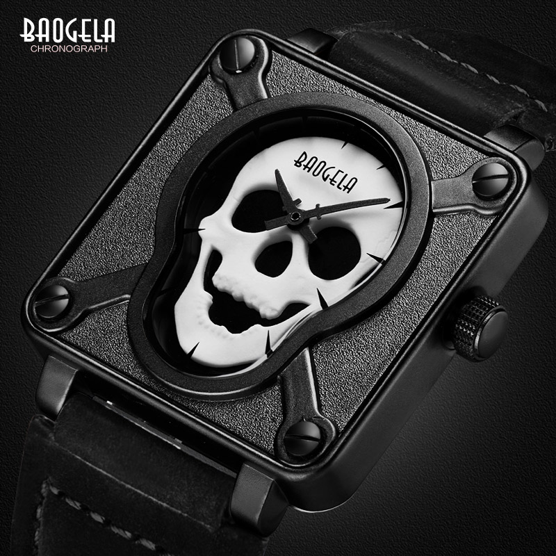 Baogela Mens Impermeable Negro Marrón Correa de Cuero Cuadrado Dial Relojes de pulsera de Cuarzo con Cráneo Luminoso BGL1701