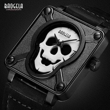 Relojes de pulsera de cuarzo con esfera cuadrada de correa de cuero marrón negro impermeable para hombre Baogela con calavera luminosa BGL1701