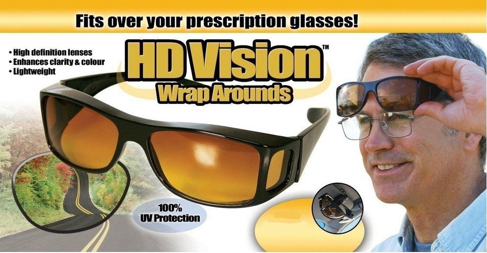 UV Protection HD Night /& Day Vision Wraparound Sunglasses Fits over glasses