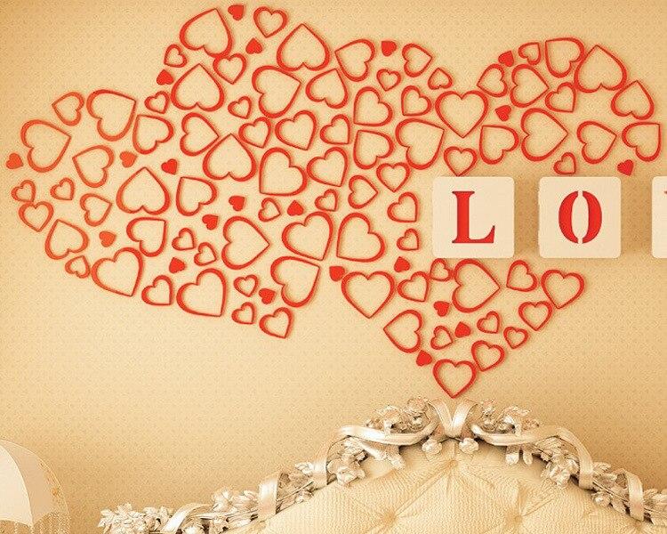 Creative 3D Sweet Heart Wall Sticker Wood Wall Art Decal Poster ...