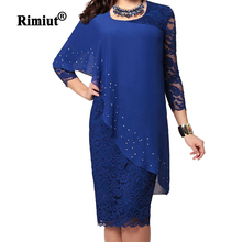 Rimiut 4XL 5XL Big Size Women Party Dress Elegant Lady Embroidered Shining AB Crystal Women Dresses Female Lace Party Vestidos