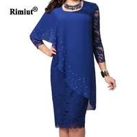 Rimiut 4XL 5XL Big Size Women Party Dress Elegant Lady Embroidered Shining AB Crystal Women Dresses Female Lace Party Vestidos
