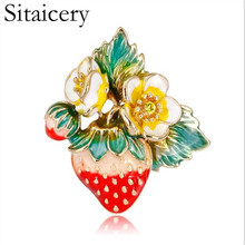Sitaicery Trendy Red Strawberry Enamel Brooches For Men Womens Classic Fruits Weddings Party Banquet Brooch Accessories Women