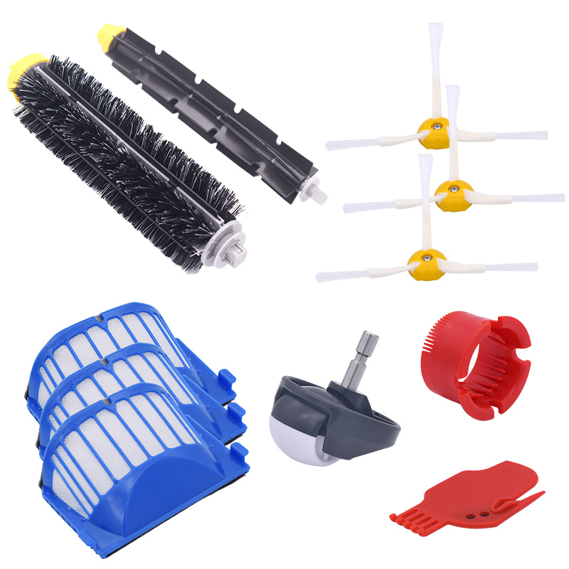 New AeroVac Filter, Side Brush, Bristles And Flexible Mixer Agitator For Irobot Roomba 600 610 620 625 630 650 660